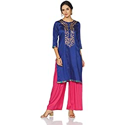 Myx Women's Embroidered A-Line Kurta (AW17MGFST09A_Blue_Small)