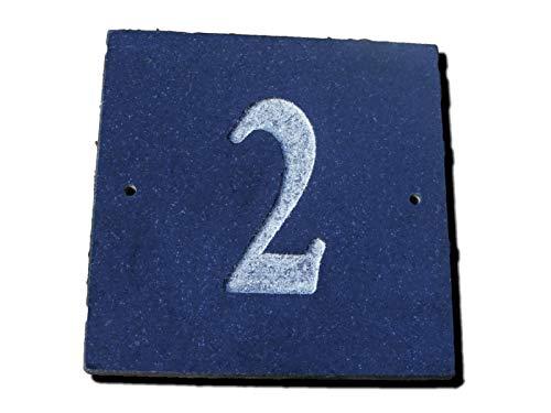 Numéro 2 Granite Noir Maison Numéro de porte carré 15,2 x 15,2 cm Gravure profonde naturel Surface Plaque Maison réchauffement cadeau (150 x 150 mm) N ° 2 2