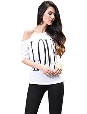 NiSeng Mujer Camiseta Manga Corta T-shirt LOVE Impresión Ocasional Off Shoulder Blusa Camiseta