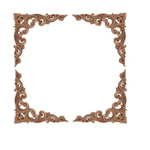 VORCOOL 4 stücke Massivholz Geschnitzte Ecke Onlay Möbel Einrichtungsgegenstände Unlackiert Applique Rahmen Dekoration 10x10 cm (C-073) -