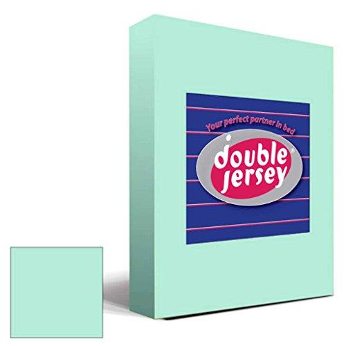 Double Jersey - Spannbettlaken 100% Baumwolle Jersey-Stretch bettlaken, Ultra Weich und Bügelfrei mit bis zu 30cm Stehghöhe, 160x200x30 Aqua - 2