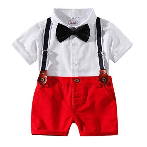 Fenverk_Baby Kleidung, Baby Jungen Sommer Gentleman Bowtie Kurzarm Shirt + Hosenträger Shorts Outfit Set (Weiß-01,18-24 Monate)