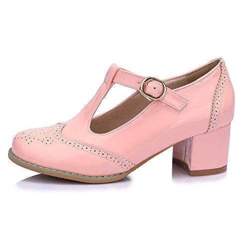 VogueZone009 Damen PU Leder Mittler Absatz Rund Zehe Rein Schnalle Pumps Schuhe, Pink, 39