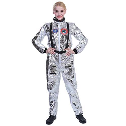 EraSpooky Astronaut Damen Spaceman Kostüm (Plus Size) (Silber Weltraum Kostüm)