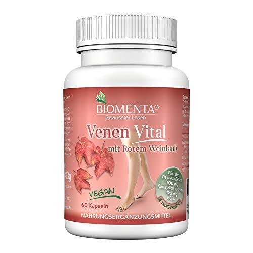 BIOMENTA VENEN VITAL | AKTION!!! | rotes Weinlaub (Rutin + Quercetin + Flavonoide + Polyphenole) + Grüntee Polyphenole | 60 Venen-Tabletten | VEGAN