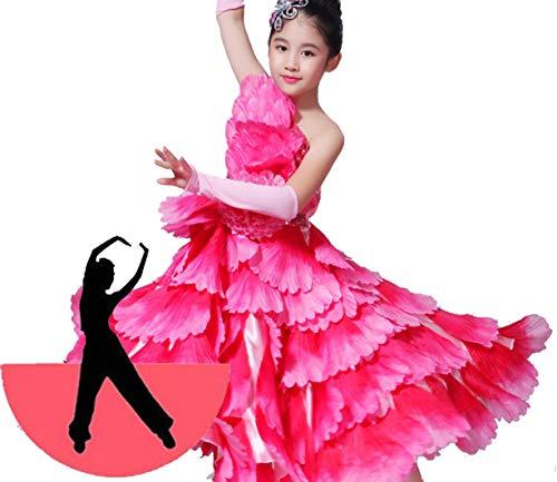 Mädchen Tänzer Kostüm - SMACO Blumendekoration Kinder Spanisch Tänzer Kostüme Sexy Flamenco Tanzen Kostüm Mädchen Leistung Flamenco Gesellschaftstanz Kleid,360°,130CM