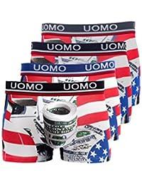 """'Boxer, multicolore. UOMO. """"Amérique de print et 100dollars Imprimé. 95% coton, 5% élasthanne. Tailles M à 3x l. Lot de 4."""