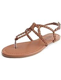 SANDALUP - Sandalia correas trenzadas para mujer, color Marron, talla 42