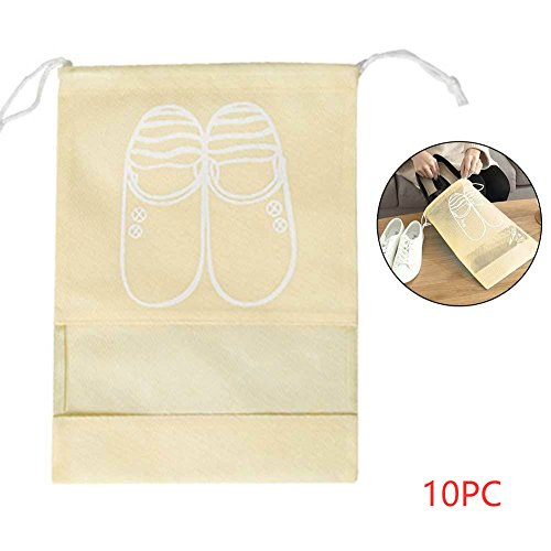 10Pc Schuh Taschen Reisetaschen Set staubdichte Kordelzug mit transparentem Fenster (B)