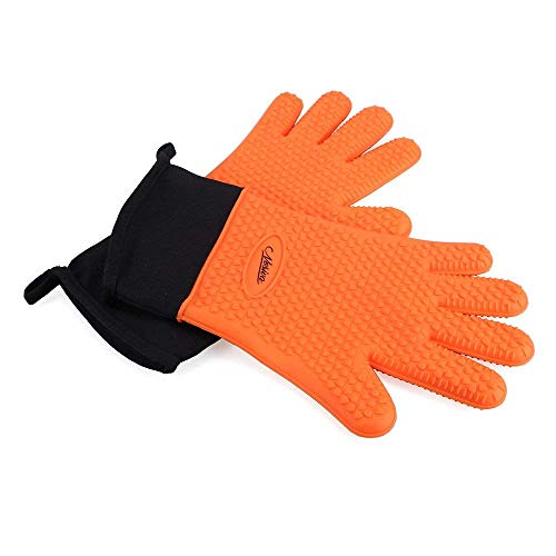 NOSIVA Ofenhandschuhe, Silikon 230 ℃ Extrem Hitzebeständige Grillhandschuhe BBQ Handschuhe zum Kochen, Backen, Barbecue Isolation Pads, 1 Paar, Orange -
