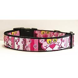 La Pantera Rosa Pink Panther Collar Perro Hecho a Mano Talla L con Correa a juego de 180 cm Dog Collar HandMade