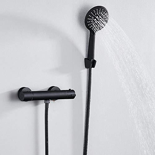 Europa Stil schwarz Dusche Wasserhahn Set Badezimmer Kupfer Badezimmer Set mit Handbrause Badewanne Mixer für kalt und warm