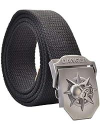 Anaisy Cinturón Para Hombre Ocio Cinturón Para Con Cinturón Hombre De Lona  Joven Con Hebilla De Calavera 3D 110 140 Cm + Caja De… e533c2d3dcbb