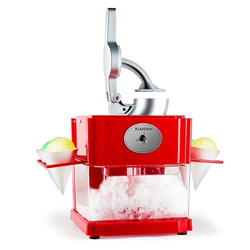 Klarstein Mr. Cone & Ms. Ice maquina de helado (90 W, máquina para helados de hielo, cuchara dosificadora, cuatro conos reutilizables, sencilla preparación con sirope o zumo)