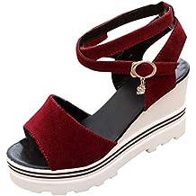 Moda Mujer Zapatillas de Verano Sandalias con Plataforma Cuñas Romanas Sandalias Peep Toe Informales