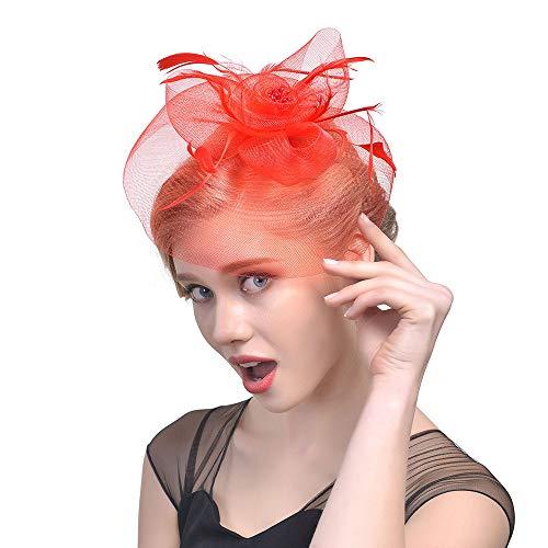 Fasching Kostüm Accessoires Damen Feder Fascinators Hut Blumen Netz Braut Kopfschmuck Haar Clip Hut Elegant Fascinator Haarreif für Hochzeit Cocktail Tee(Rot)