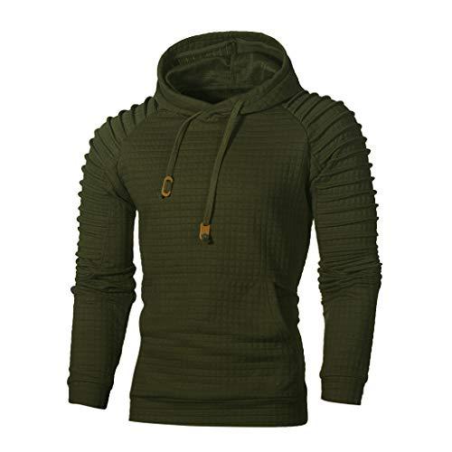Xmiral Herren Sweatshirt Top Herbst Langarm Plaid Hoodie Mit Kapuze T-Shirt Outwear (L, Armeegrün) -