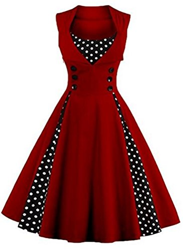 Brinny Robe de Soirée/Bal Courte Rétro Vintage Impression année 1950 Style Audrey Hepburn Rockabilly Swing sans manche avec Boutons Grande Taille Vinerouge