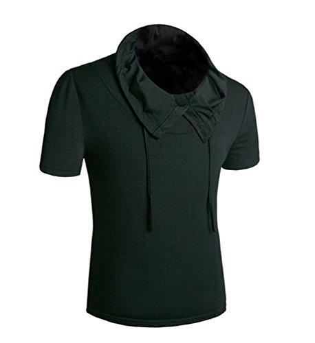 MILEEO Men's T-Shirt Slim Fit Short Sleeve Shirt Schwarz