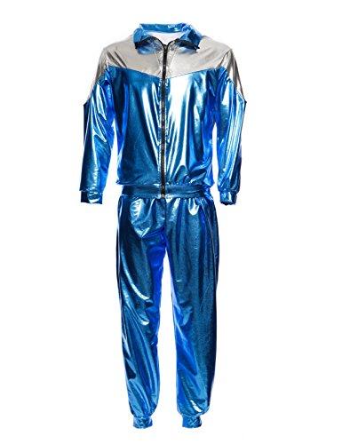 Metaillic Look 80er Jahre Trainingsanzug Retro Jogging Assi Anzug Jacke Karneval Verkleidung (Metallic-hosen-anzug)