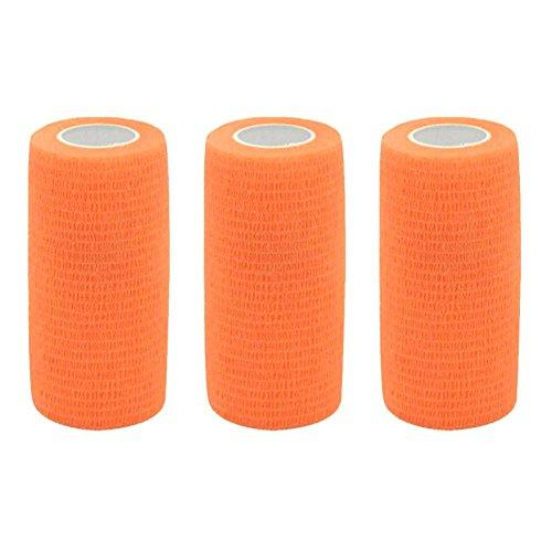 YoGou 3 Rollen Selbsthaftende cohesive Bandage Haftbandage Athletic Tape Elastischer Fixierverband Verband elastische Binde 10 cm x 4,5 m (orange) (Orange Athletic Tape)