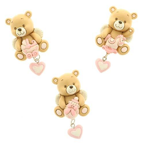 Publilancio srl 12 pezzi leo orso orsetto magnete calamita rosa bomboniera nascita bambina