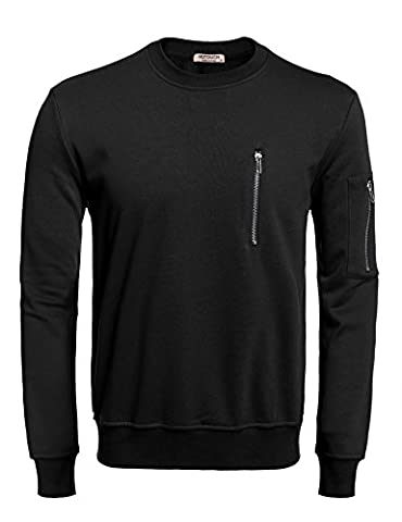 HOTOUCH Men's Big and Tall Sweatshirts Mens Henley Black S