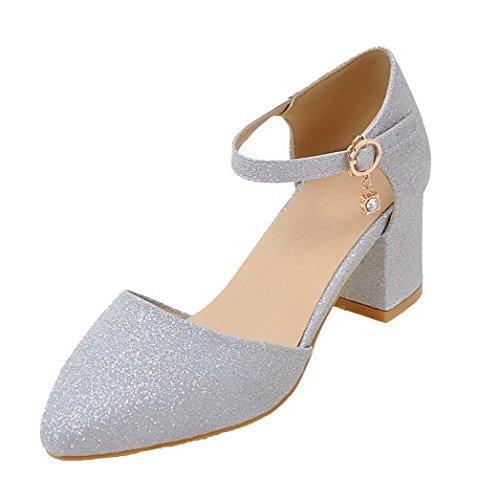 AgeeMi Shoes Damen Rein Pailletten Mittler Absatz Spitz Zehe Pumps Schuhe,EuD82 Argento 40