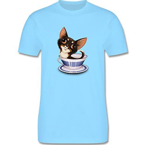 Hunde - Teacup Chihuahua - Herren Premium T-Shirt Hellblau
