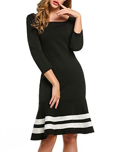 ZEARO Damen Kleid 3/4 Arm Hinter mit Reißverschluss Rundhals Knielang Figurbetont Fischschwanz Party Cocktail Kleid Schwarz