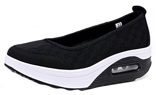 Hishoes Zapatos de Mujer Respirable Andar Deporte Zapatilla de Deporte Plataforma Cuña Sandalias Plataforma Malla