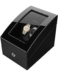 Estuche bobinadora con capacidad para 5 relojes, en madera con pintura color piano, accionada por un motor japonés, compatible con todo tipo de relojes automáticos