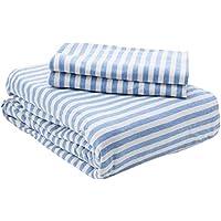 AmazonBasics Parure de lit en jersey, rayures, - 240 x 220 cm / 65 x 65 cm, Bleu