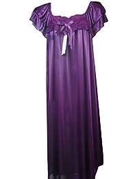 Superbe satin longueur 3/4 chemise de nuit avec dentelle top vous fait vous sentir sexy, taille (40-44), longueur 3/4, 109cm de long