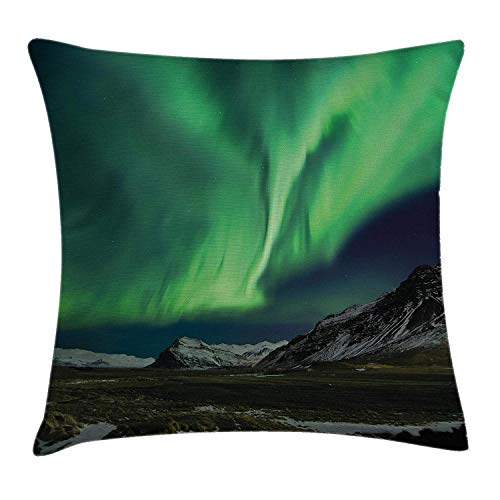 Northern Lights Throw Pillow Cushion Cover, Flash of Aurora Polaris Above Mountains in Night Picture, Decorative Square Accent Pillow Case, 18 X 18 Inches, Jade and Army Green Blue Grey