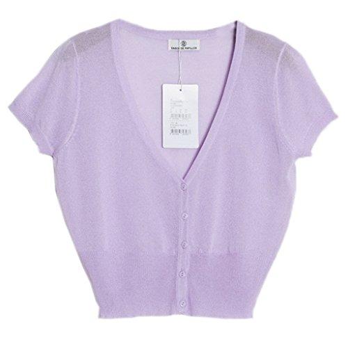 Smile YKK One Size Kurzes Aermel Damen Einfarbig Gestrickt Oberteil Strickpullover Tops Shirt Lila