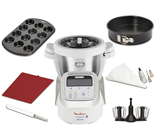 Moulinex i-Companion HF900110 - Robot de cocina Bluetooth 13 programas hasta 6 personas, incluye cuchilla picadora, batidor, amasador y cesta de vapor, con cortador + vaporera + kit de repostería