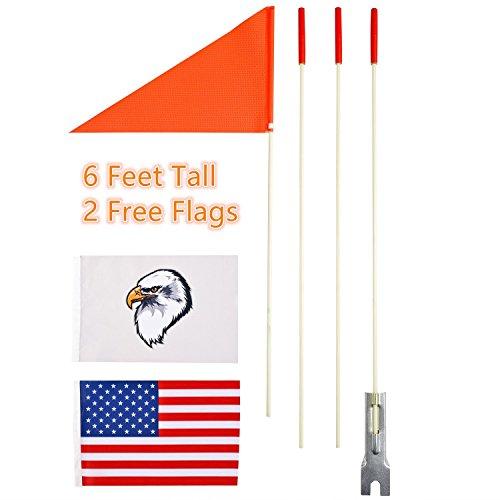 Uelfbaby Fahrrad-Flagge, Sicherheits-Flagge, 1,8 m, strapazierfähig, Fiberglas-Stange, Polyester, durchgefärbt, reißfest, wasserfest, Orange, Sicherheitsflagge, Adler und amerikanische Flagge -