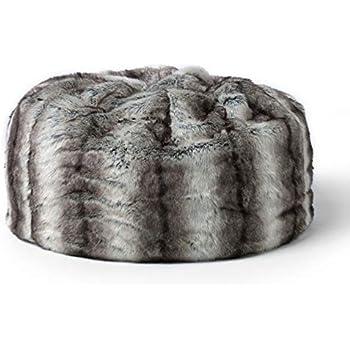 icon Faux Fur Pouffe – 64cm x 70cm – Faux Fur Bean Bag Footstool (Bavarian Wolf  Grey 5c0dee2c2b59f