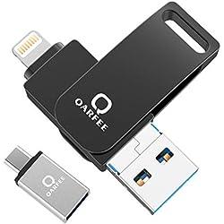 Flash Drive 32 GB 4 en 1 Compatible con iPhone y Dispositivos Android Memory Stick Expansión para iPhone Android teléfono Tablet PC y Dispositivos con USB/Micro USB/Type C/iOS L-Port-Negro
