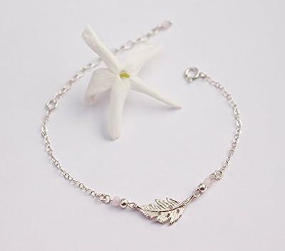 Bracelet feuille argent massif 925, cristaux de verre rose pastel, cadeau femme poétique romantique