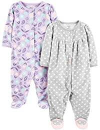 Simple Joys by Carter's 2-Pack Fleece Footed Sleep and Play Bebé-Niñas, Pack de 2