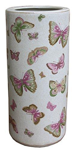 Regenschirmständer Schmetterlinge, Keramik Pink