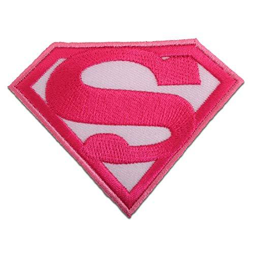 - Superwoman Comic - pink - 8,7 x 6,6 cm - Patch Aufbügler Applikationen zum aufbügeln Applikation Patches Flicken ()