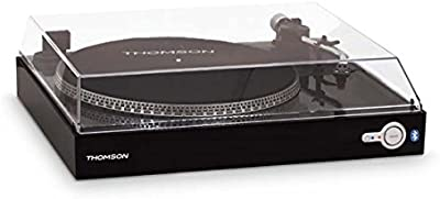 Thomson TT200BT - Tocadiscos Bluetooth (2 velocidades - 33/45 rpm, AC 230 V, recogida automática del brazo) negro