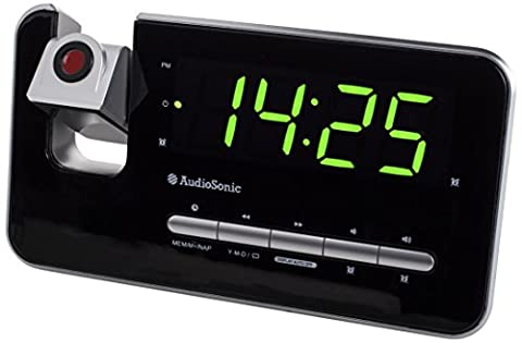 AudioSonic CL-1492 Uhrenradio mit Projektor, dimmbar, silber