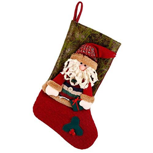 Codream Klassische Weihnachtsstrümpfe, 45,7 cm, süßer Schneemann, 3D-Plüsch 18x8 inch Santa Claus