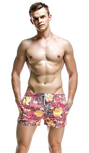 Honeystore Herren Schwimm Shorts Brave Soul Hawaii Strand-aufdruck Sommer Neu Rot Kokospalme L (Caprihosen Brooks Damen)