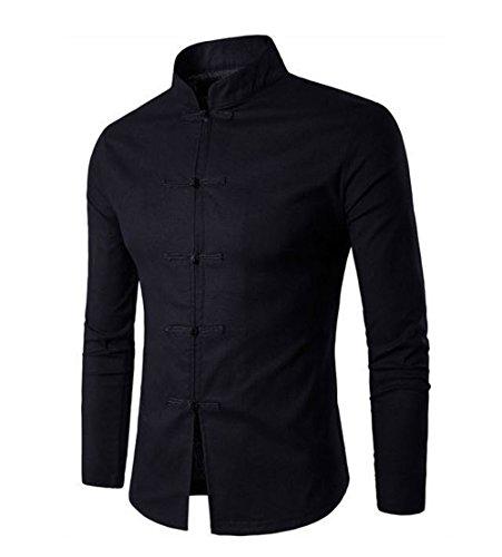 DaDag-Chinesisches Hemd Herren Slim Fit Langarmhemd Leinen Einfarbige Freizeithemd (M, Schwarz) (Hemd Chambray-kariertes)