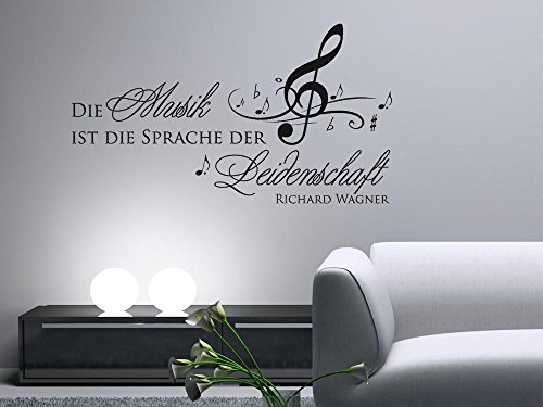 600077_30_070 Wandtattoo Wandaufkleber Musik Noten Spruch Zitat Musik ist die Sprache der Leidenschaft Deko (Größe=54x30cm//Farbe=Schwarz)